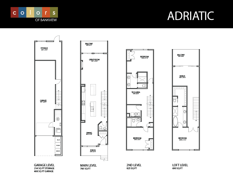 Feature Sheet 2 for the Adriatic Floorplan at Colors of Bankview