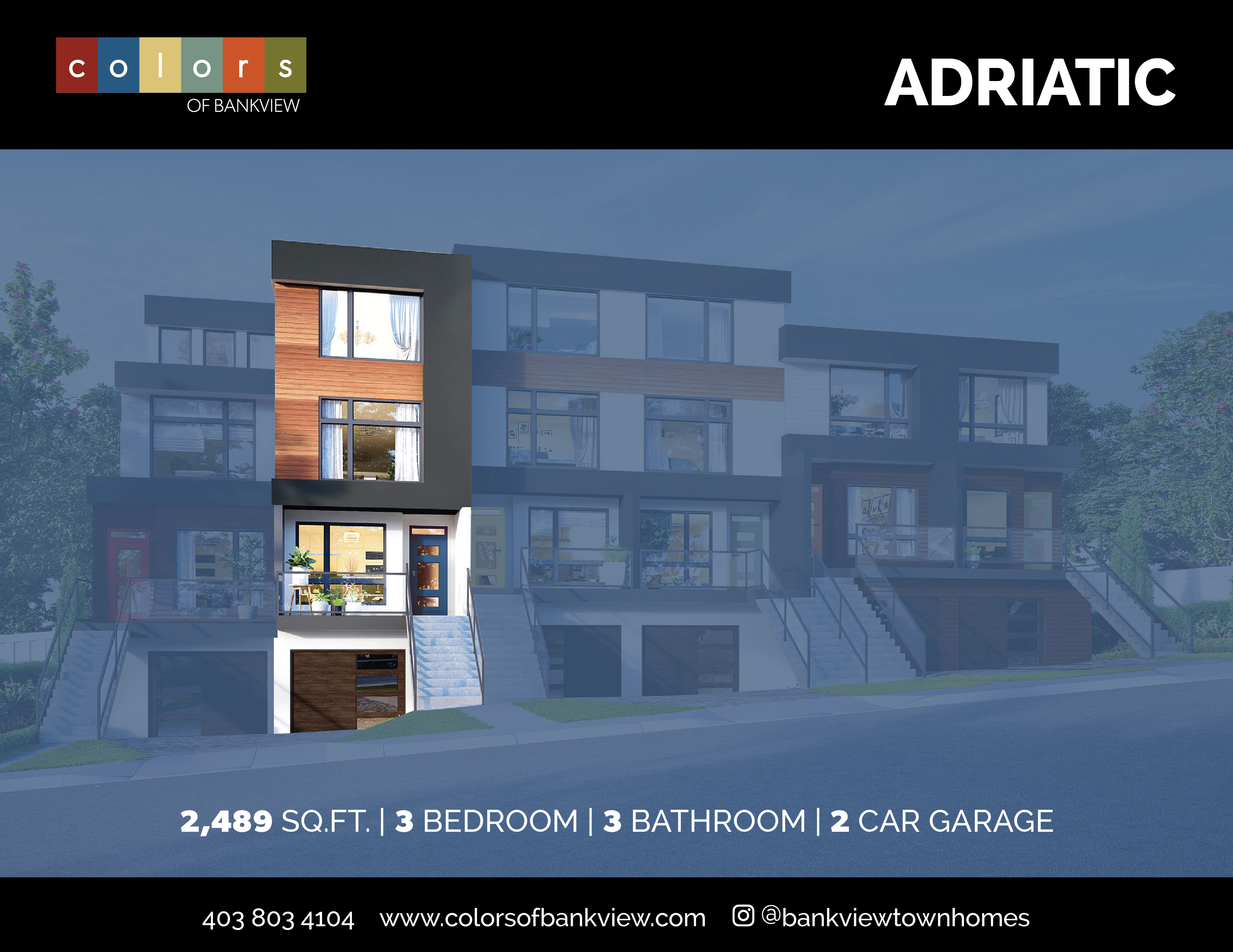 Adriatic Floorplan Feature Sheet - Colors of Bankview Townhomes in Calgary SW by Aldebaran Homes